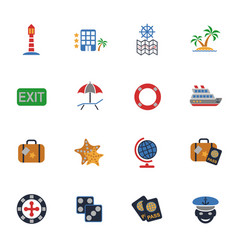 Cruise icon set vector