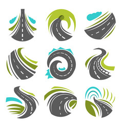 Road or driveway path isolated icons set vector