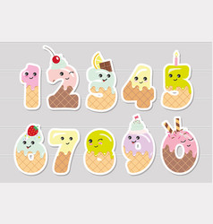 Cute kawaii numbers made of sweets funny stickers vector