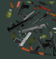 Military gun set automatic and hand weapon in vector