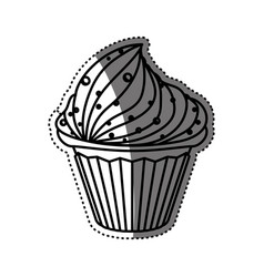 Delicious chocolate cupcake vector