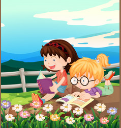 Two girls reading book in garden vector
