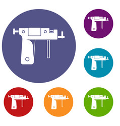 piercing gun icons set vector image