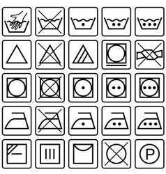 Set of laundry care symbols vector