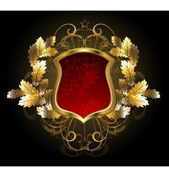 Red Shield with an Oak Branch vector image