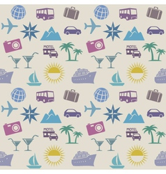 Seamless wallpaper pattern with travel icons vector image