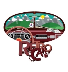 Retro car in front mirror vector
