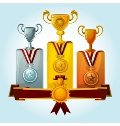 Trophies on podium vector