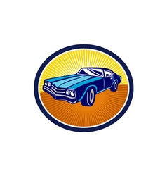 American vintage muscle car rear retro vector