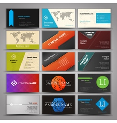 Fifteen colorful business card template vector image
