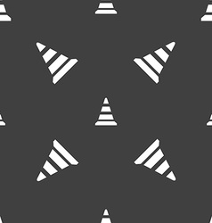 Road cone icon seamless pattern on a gray vector