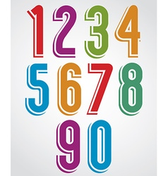 Colorful animated rounded numbers with white vector