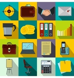 Business and office work icons set flat style vector