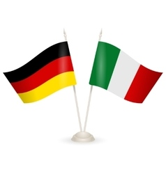 Table stand with flags of germany and italy vector