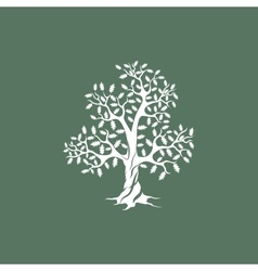 Oak tree silhouette on green background vector
