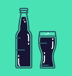 Cocktail cold beer or juice bottle with glass vector