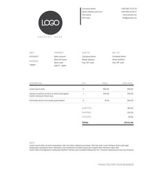 black and white simple invoice template vector image vector image