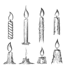 Candle hand drawn set vector image vector image