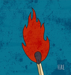 Cartoon burning match vintage vector