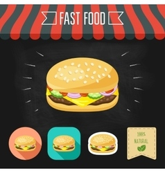 Cheeseburger icon on a chalkboard Set of icons vector image
