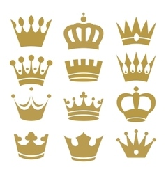 Crown icons isolated on white background vector image vector image