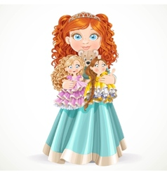 Cute little red-haired princess girl holding in vector