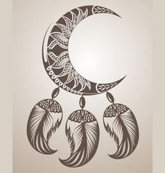 dream catcher with moon and feathers vector image
