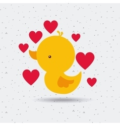 Duck and red hearts vector
