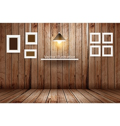 Empty wooden room template design vector image vector image