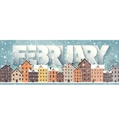February monthwinter cityscapecity silhouettes vector