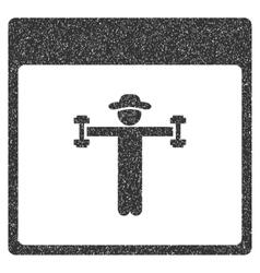 Gentleman fitness calendar page grainy texture vector