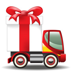 Gift box on car vector