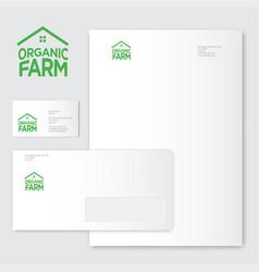 Green farm organic food emblems logo identity vector
