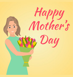 Happy mothers day woman with beautiful colorful vector