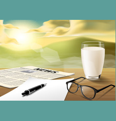Milk-sheet-pen-glass-news paper on wooden table vector