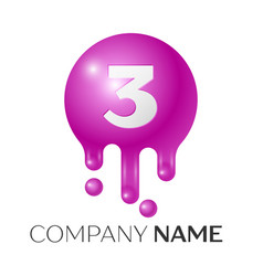 number three splash logo purple dots and bubbles vector image