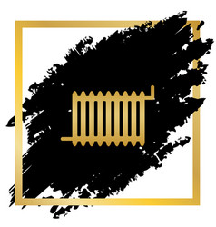 Radiator sign golden icon at black spot vector