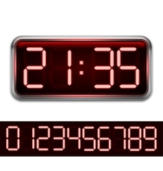 Red Digital Clock vector image