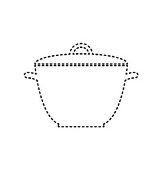 Saucepan simple sign black dashed icon on vector