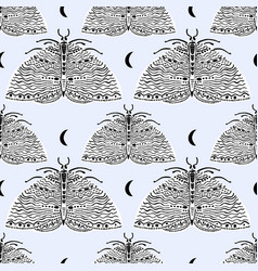 Seamless pattern with moth butterfly naive style vector