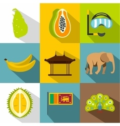 Sri lanka icons set flat style vector