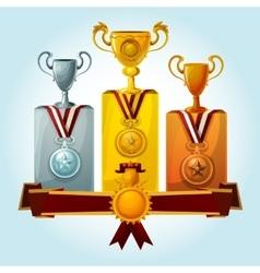 Trophies on podium vector