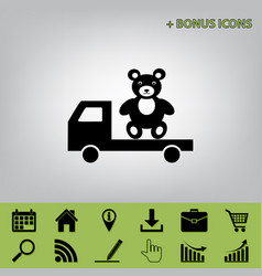Truck with bear black icon at gray vector
