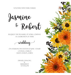 wedding invitation floral invite card orange vector image vector image