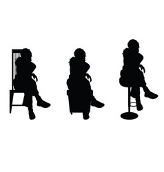 women silhouette sitting on chair vector image