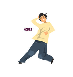 Young man dancing house dance vector