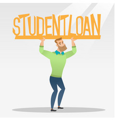 young man holding sign of student loan vector image