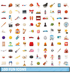 100 fun icons set cartoon style vector