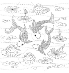 Monochrome of japanese koi for coloring page vector