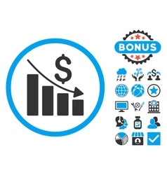 Recession chart flat icon with bonus vector